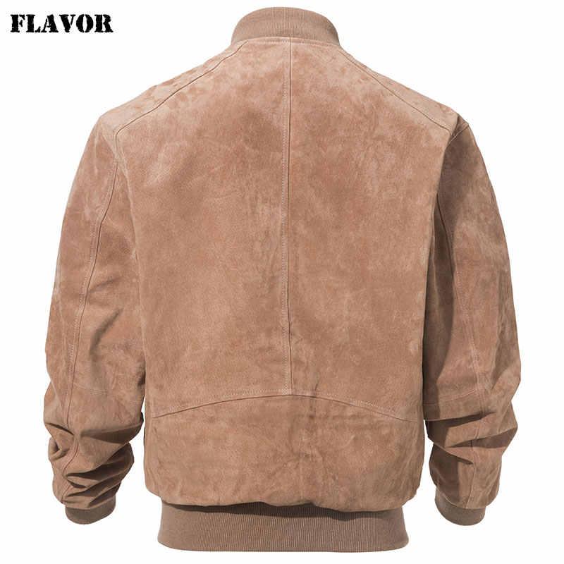 Kожаная куртка мужская бомбер FLAVOR, бежевая бейсбольная куртка из натуральной свиной кожи, кожаный жакет для мужчин, на весну-осень 2020