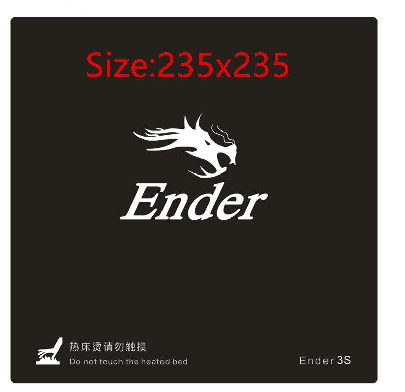 1 stück 235x235mm schwarzen Beheizten bett Für Creality ENDER-3S 3D Drucker Aufkleber Bauen Blatt bauen platte band mit 3 mt Sichern Schnelle Schiff