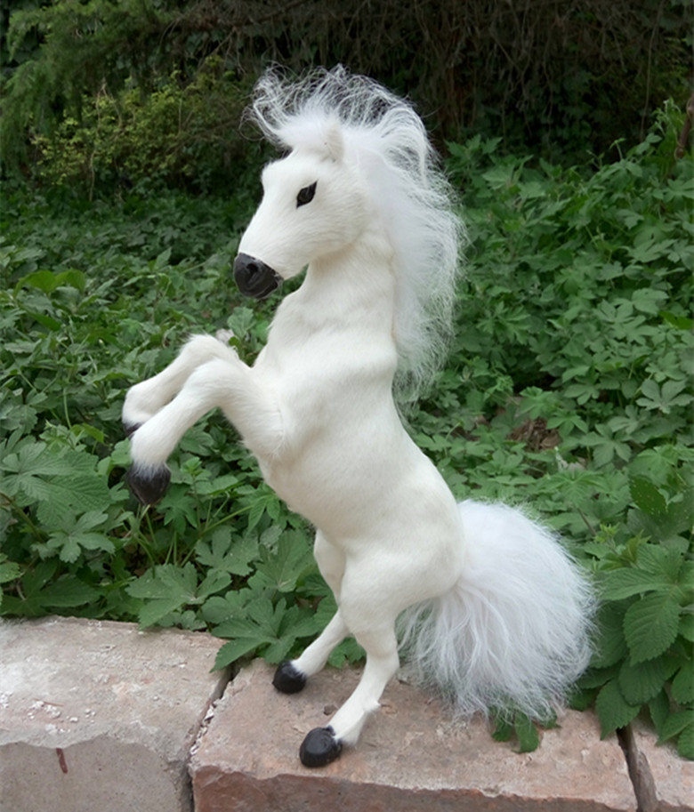 white simulation war horse toy polyethylene&furs standing horse model doll gift about 32x15cm 1061 creative simulation standing fox toy polyethylene