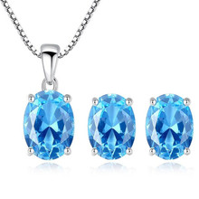 1.8 Ct Oval Sky Blue Topaz Pendant Necklace Earrings Set 925 Sterling Silver Jewelry Sets For Women Wedding Engagement Gifts недорого