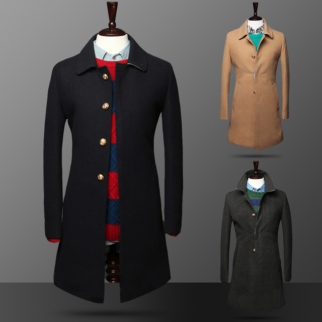 2016 Promotion Rushed Turn-down Collar Full Male Medium-long Overcoat Slim Turn-down Collar Royal Wind Button Wool Coat Clothing