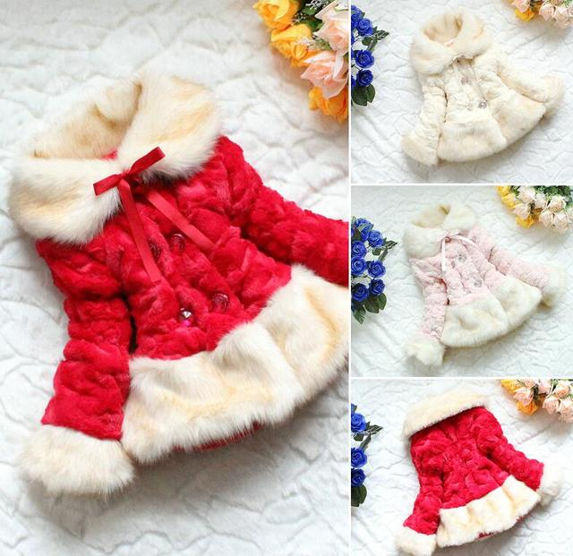 b0898ef5b Retail baby Girls faux fox fur collar coat clothing with flower ...