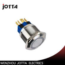 GQ25-11EZ 25mm Latching LED light Ring Lamp type stainless steel push botton switch with flat round