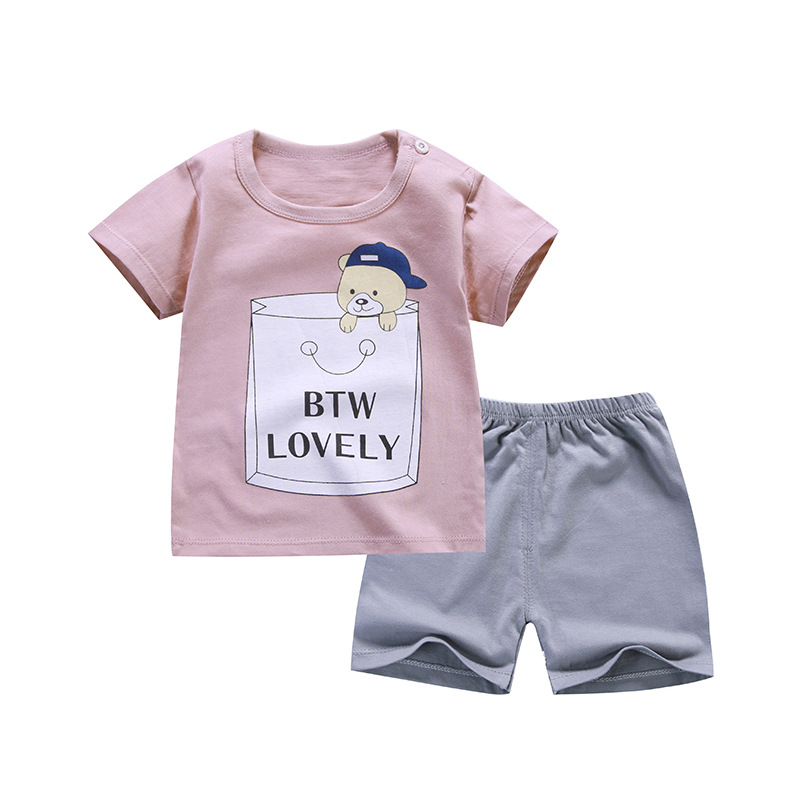 Cartoon Baby Boy Clothing Set Summer 2018 New Style Infant Clothes Baby Girls Clothing Cotton Short Sleeve Baby Boy Clothes free shipping 2016 summer new arrive letter fashion children boy clothing set 100% cotton short sleeve casual clothes set