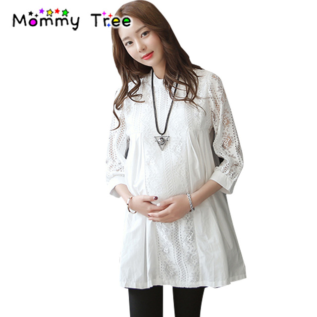 37fd2dce040 High Quality Formal Lace Maternity Shirt Dress Spring Summer Maternity  Clothes Office Lady Pregnancy Clothing for Pregnant Women