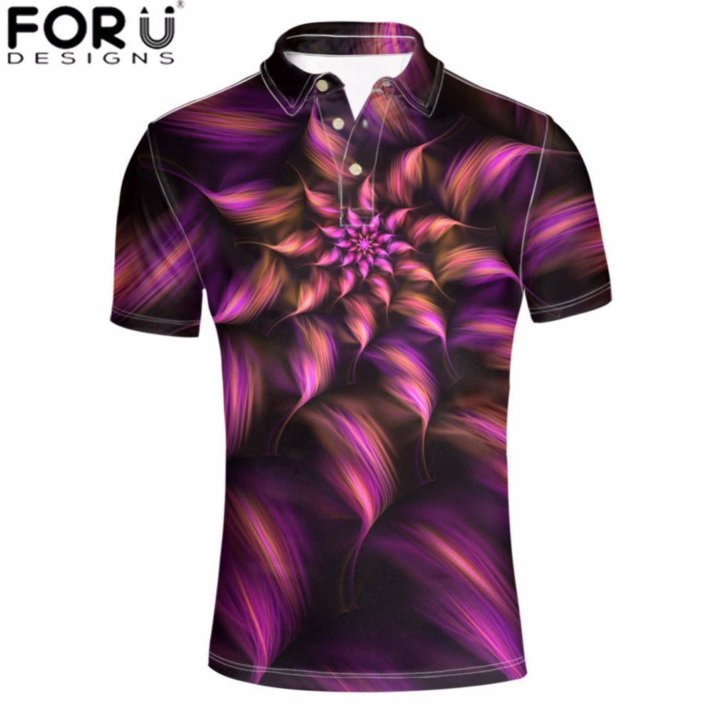FORUDESIGNS Men Plus Shirts Flower Printing Summer O-Neck Mens   Polo   Shirt Casual Retro Floral Clothing Tops Male Fashion 2018