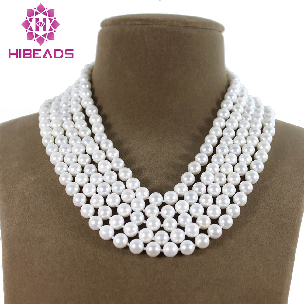Elegant 5 Rows Shell Pearl Fashion Necklace 8MM White Round Shell Pearl Beads Jewelry Wholesale Free