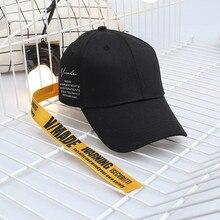 New Baseball Cap Fashion Long Belt Women Men Black Adjustable Hip Hop Embroidery Letter Casual Cotton Hats