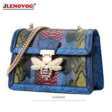 2019 Womens Luxury Snake Print Handbag Genuine Leather Bee Handbag  Crossbody Bag for Women Designer Shoulder Bag Purse