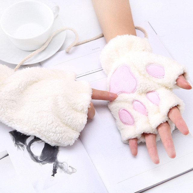 1 Pair Girls Lovely Fluffy Bear Cat Plush Paw Claw Half Finger Gloves