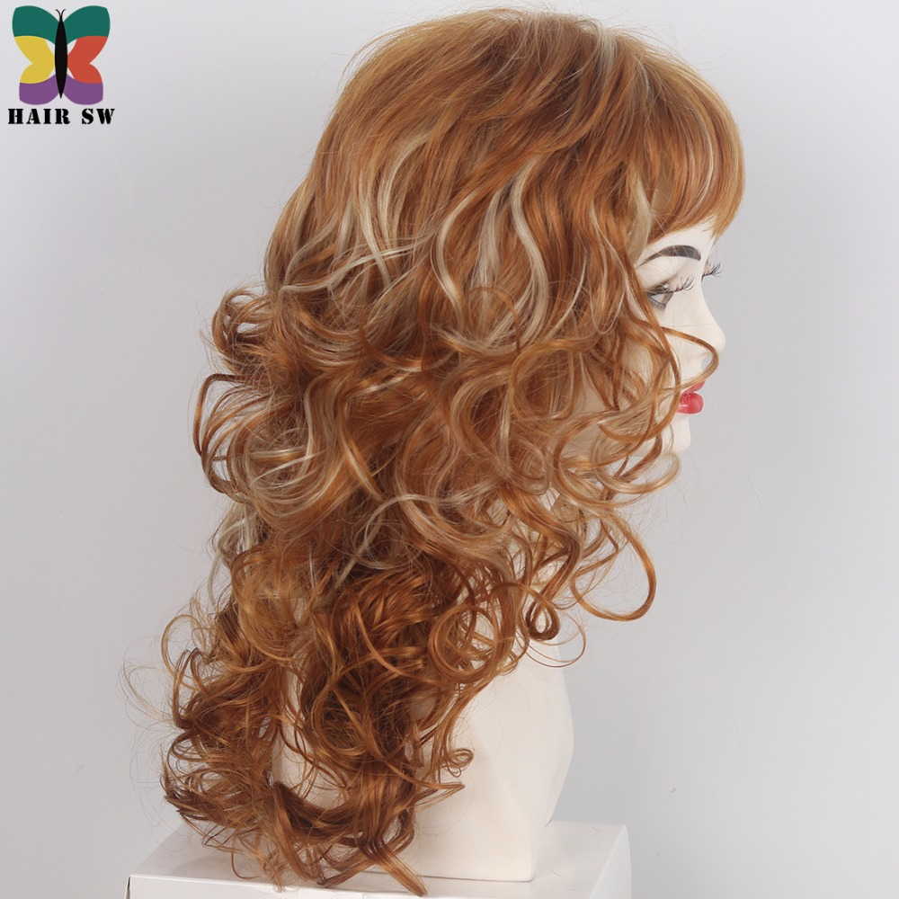 Hair Sw Long Curly Synthetic Wig Reddish Brown Mixed Blonde