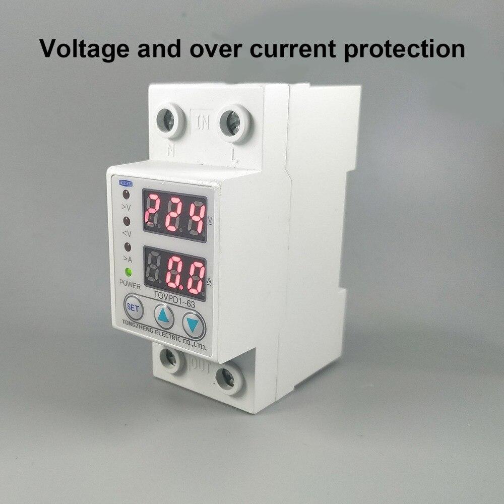 60A 230 v Din rail verstelbare overspanning en onder voltage beschermende apparaat protector relais met over huidige bescherming