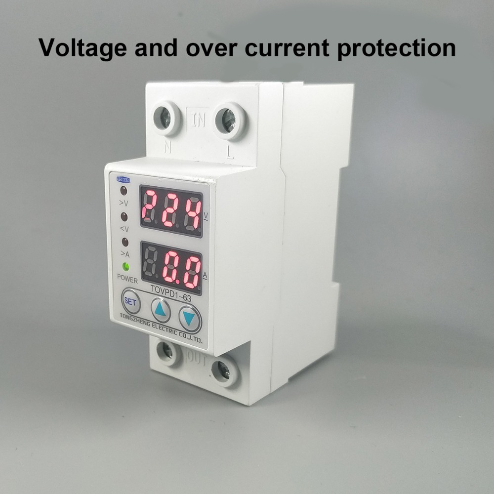 63A 230 V carril Din ajustable sobre voltaje y bajo voltaje dispositivo protector relé con protección contra sobrecorriente