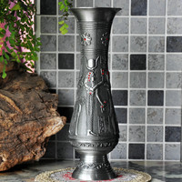 Ancient Egyptian Metal Garden Vase Retro Metal Tabletop Vase Antique Metal Flower Vase Vintage Style Home Wedding Alloy Ornament