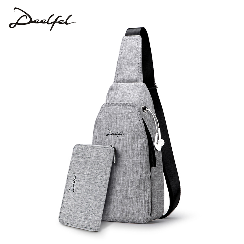 DEELFEL 2018 Fashion men crossbody bag oxford cloth chest bag for men waterproof crossbody bags anti theft messenger bag men