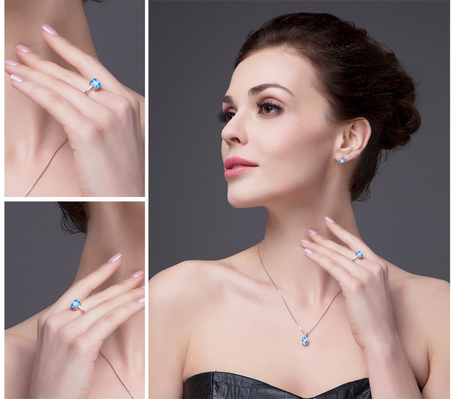 JewelryPalace Ovale 1.5ct Sky Naturale Topazio Azzurro Birthstone Solitaire Anello Solido 925 Sterling Silver Gioielleria Raffinata Per Le Donne del Regalo