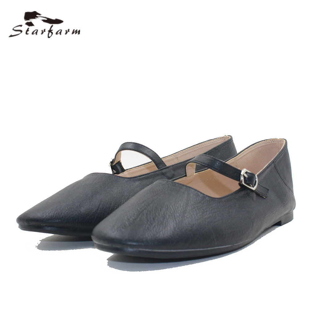 STARFARM Women's Classic Ballet Flat Weave Mules Shoes Pointy Toe Leather Comfort Slip On Flats Causal Shoes in Black Tan White