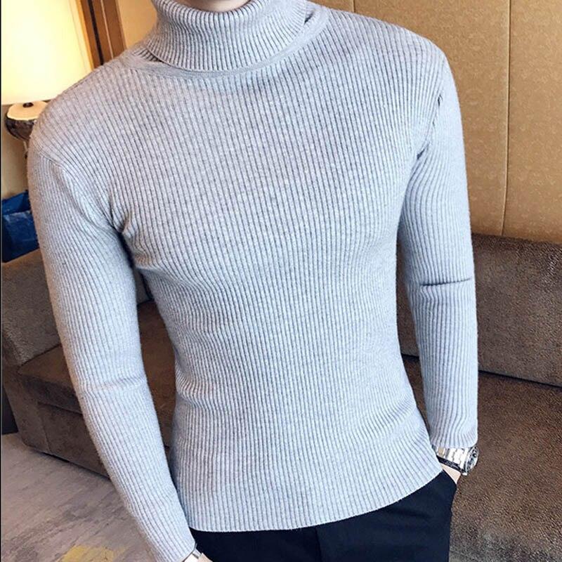 Зимний толстый теплый мужской свитер с высоким воротником, Брендовые мужские свитера с высоким воротником, облегающий пуловер, Мужская трикотажная одежда с двойным воротником - Цвет: 7206  grey