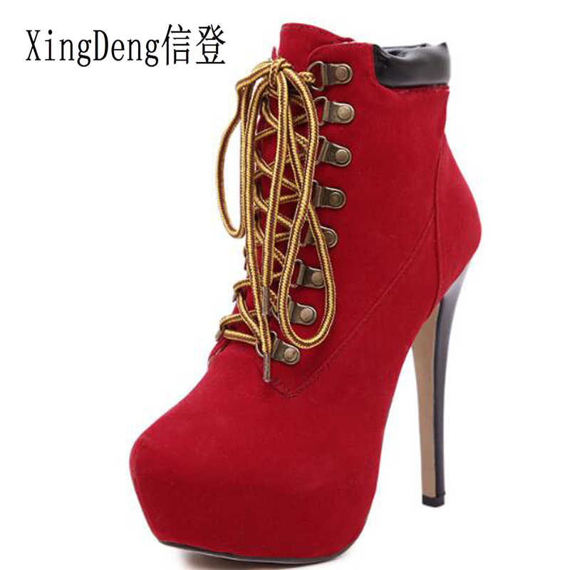 XingDeng Women Thin Heels Round Toe Flock Lace Up Bandage High Heel Ankle Motorcycle Boots Shoes Lady Party Office Riding Boots