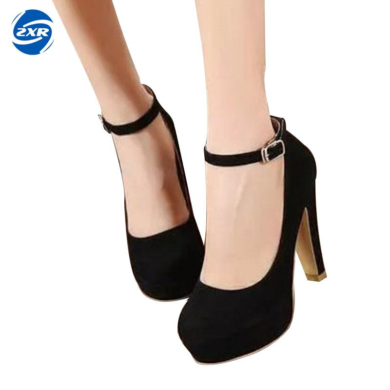 Spring/autumn Women Dress Shoes Round Toe High Heel Pumps For Office Lady Gladiator Ankle Strap Sexy Pumps Women Wedding Shoes cicime women s shoes pure wild solid autumn summer spring classics fahion gold mature sexy wedding dress pumps