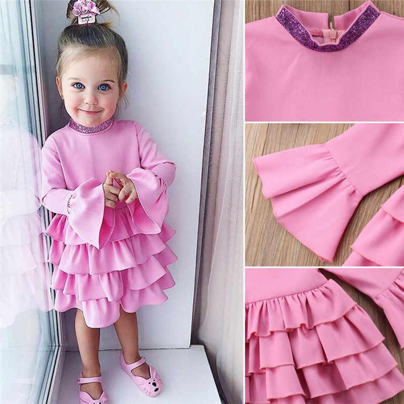 Новинка 2019 года; вечерние платья принцессы с оборками для маленьких девочек; сезон осень-зима; платье с длинными рукавами для свадебного торжества