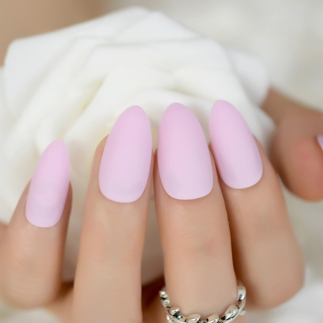 Pink Candy Matte Nail Tips Almond Design Kit Sharp Medium Stiletto ...