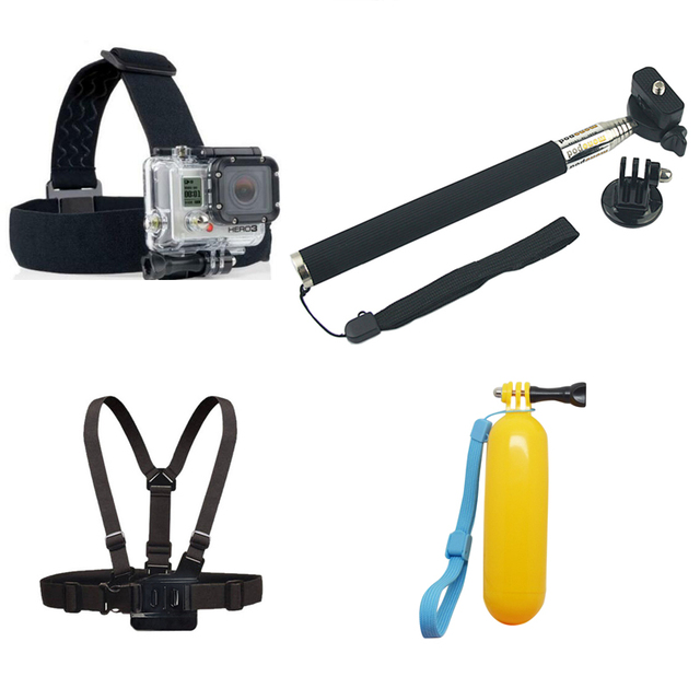 Камеры Аксессуары Комплект Headstrap + Нагрудный ремень + Поплавок + Монопод Адаптером для Штатива для Gopro Hero 5 4 3 + 3 SJCAM SJ6 SJ7 XIAOMI YI