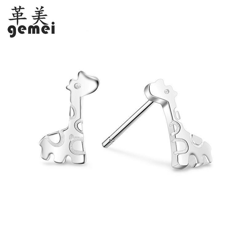 388a9774 Gemei 100% 925 Sterling Silver Giraffe Stud Earrings For Women Simple  Animal Fashion Party Jewelry | My Shop Name
