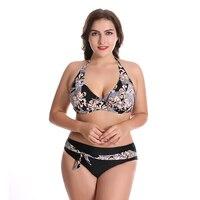 New Big Size Floral Print Bikini Low Waist Swimsuit For Women Swimwear 2018 Lady Beachwear Brazilian