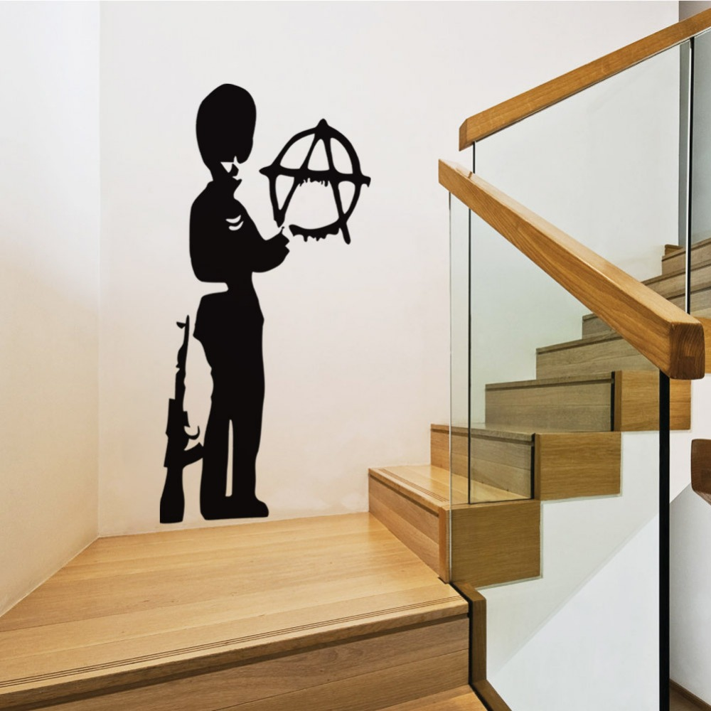 Graffiti art wall decals - 2 Sizes Famous Graffiti Artist Banksy Print Soldier With Gun Wall Sticker Living Room Bedroom