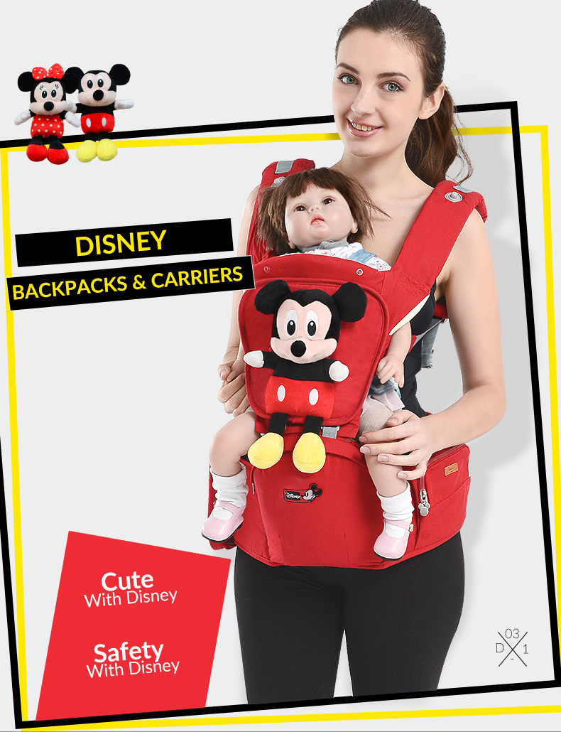 Disney Breathable Cartoon Baby Carrier Mickey Infant Comfortable Sling Minnie Backpack Toddler Detachable Front Facing Stool disney baby carrier front facing infant breathable comfortable sling mickey minnie backpack toddler detachable carrier