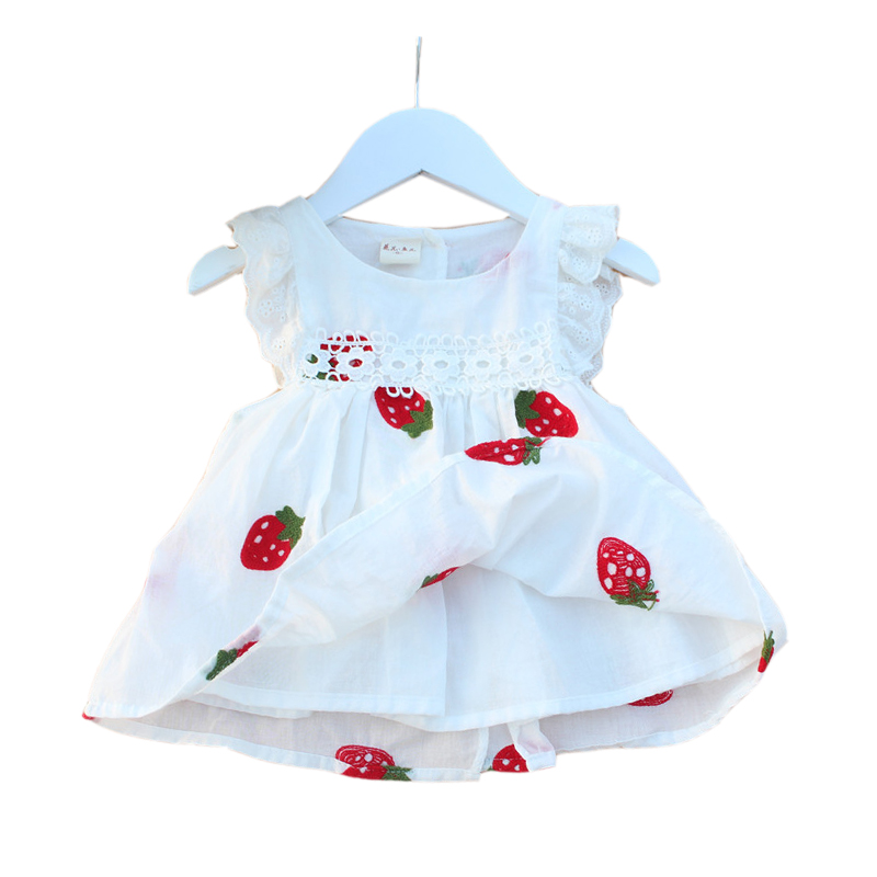 Flower Strawberry Embroidery Baby Dress 2018 New Summer Casual Newborn Princess Dresses White A-line Infant Girls Clothes