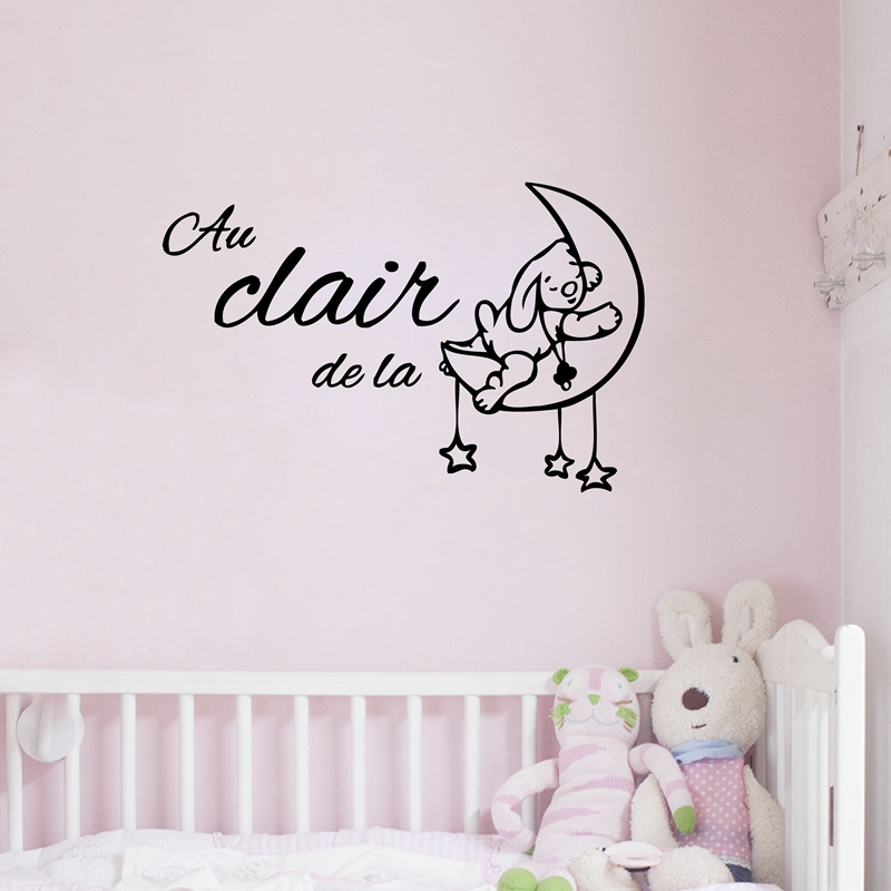 Cute cartoon france baby room decoration Free shipping Au clair de la lune vinyl wall stickers french kids bedroom decor