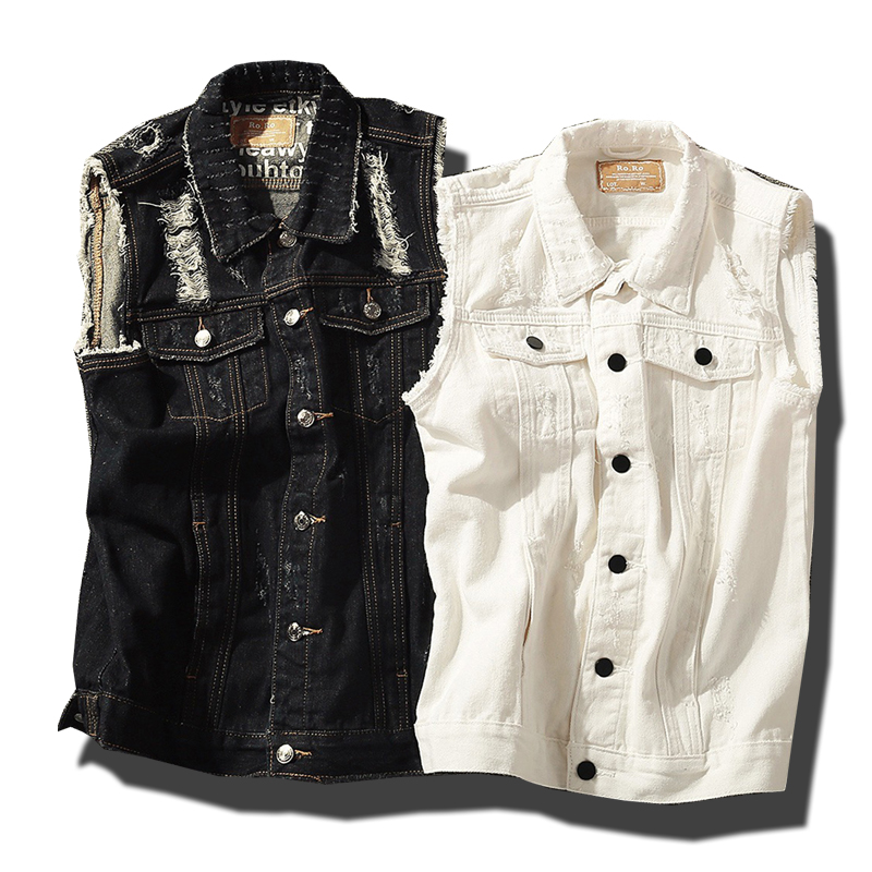 Straightforward Classic Denim Vest Men Slim Fit Sleeveless Jean Jacket Vests Turn-down Collar Waistcoat For Men Selling Well All Over The World