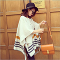 Winter Women Knitted Sweater Poncho Cape Shawl Pullover Cotton Cloak Oversized Sweater Overwear Coat