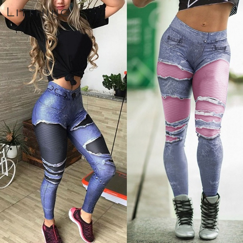 LITTHING Women Faux Jeans Pants Hole Printed Skinny Denim Print Slim Trousers   Leggings   Sexy Fake Slim Fit Jeans Leggins Trousers