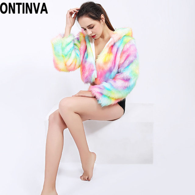 Faux Fur Hooded Coat Jacket Rainbow LED Lights Long Sleeve 2018 Autumn Winter Plus Size 4XL XL Halloween Christmas Party Costume 5