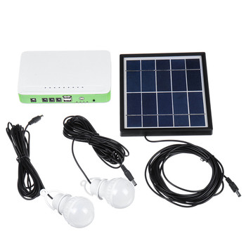 Solar Power LED Lighting System Portable Generator Solar-Panel Kit Camping Hiking Emergency Home Light with 2 LED Lamps 2