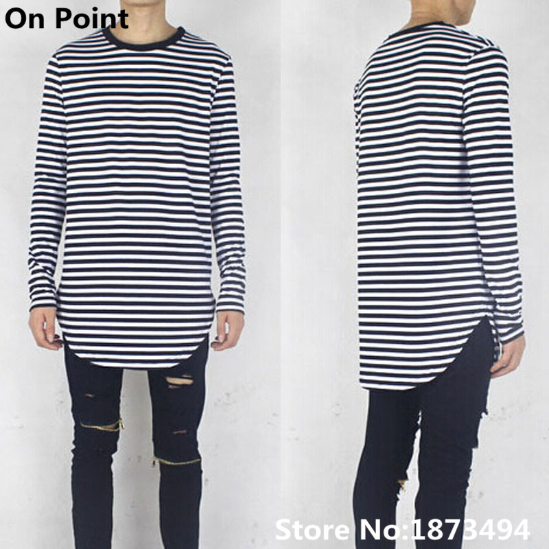 Usa size swag clothes mens curve long sleeve striped t Striped long sleeve t shirt
