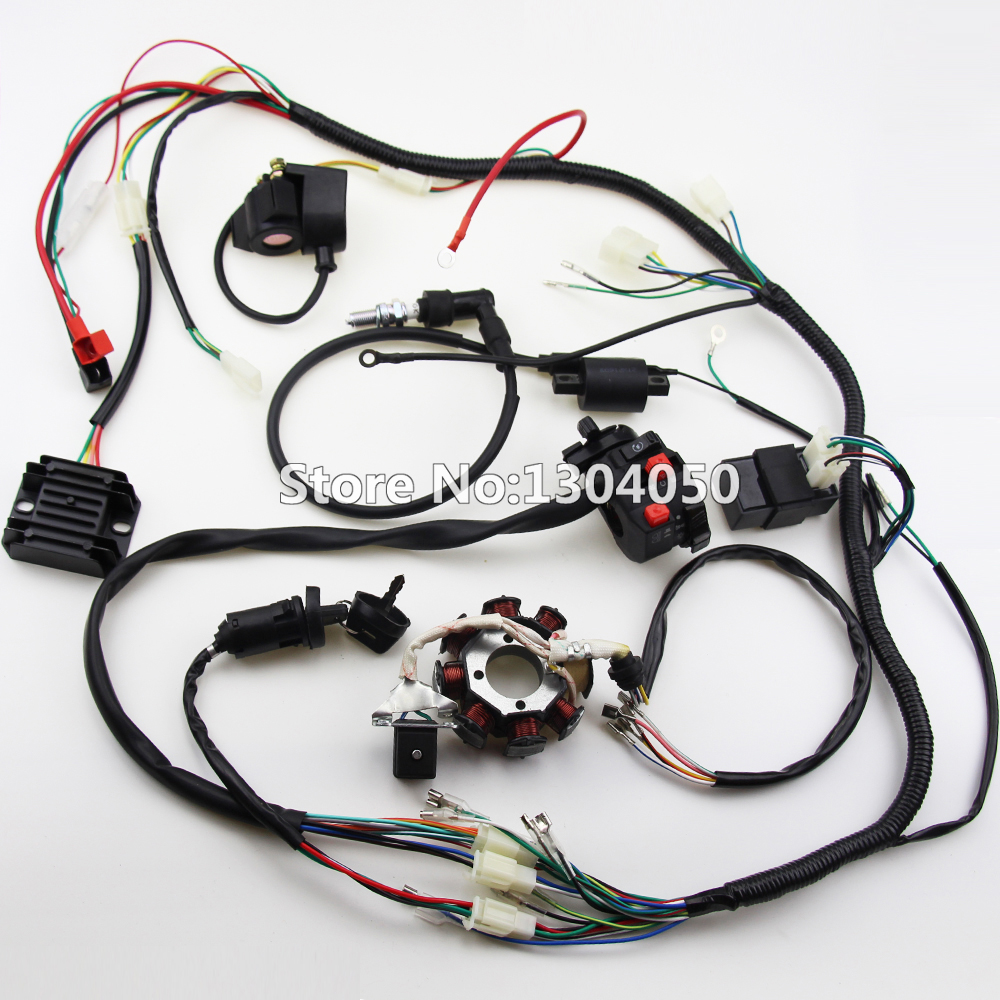 150 200cc 250cc 300cc atv quad full electrics wiring harness rectifier cdi  coil d8ea solenoid rectifier,zongshen loncin