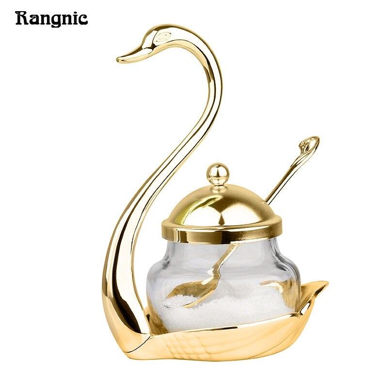 Rangnic Stainless Steel Condiment Pot Seasoning Container Spice Glass Jar Salt Sugar Bowl Pepper Storage Organize Swan Rack Set