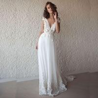 LORIE Sexy Wedding Dress Boho Long Backless White Beach Wedding Dress Appliques Lace V Neck Princess Bride Dress Free Shipping