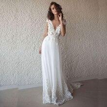 לורי סקסי חתונת שמלת Boho ארוך ללא משענת לבן חוף חתונת שמלת אפליקציות תחרה V צוואר נסיכת הכלה שמלת משלוח חינם
