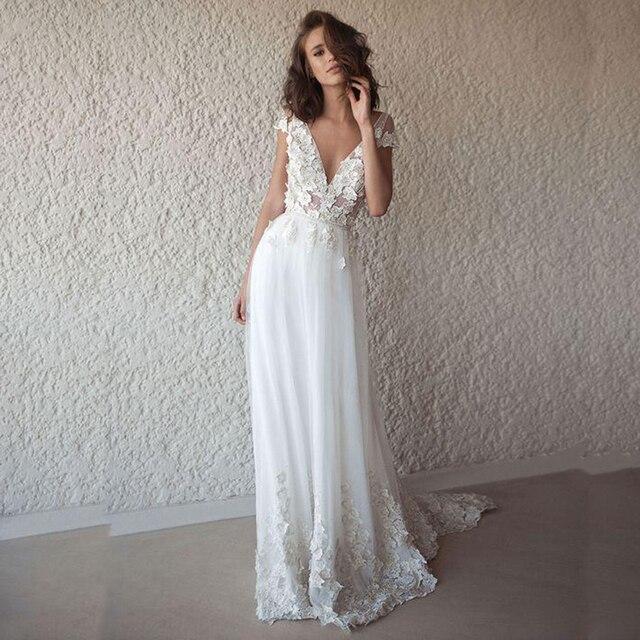 LORIE Sexy Boho Do Vestido De Casamento Longo Sem Encosto Branco Praia Vestido de Noiva Apliques de Renda V Neck Princesa Vestido de Noiva Frete Grátis
