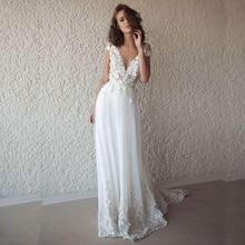 LORIE Sexy Wedding Dress Boho Long Backless White Beach Appliques Lace V Neck Princess Bride Free Shipping