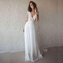 ffe081579a LORIE Sexy robe de mariée Boho Long dos nu blanc plage robe de mariée  Appliques dentelle col en V princesse robe de mariée livra.