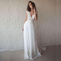 Лори сексуальное свадебное платье Бохо длинное с открытой спиной белое пляжное свадебное платье Аппликации Кружева v-образный вырез