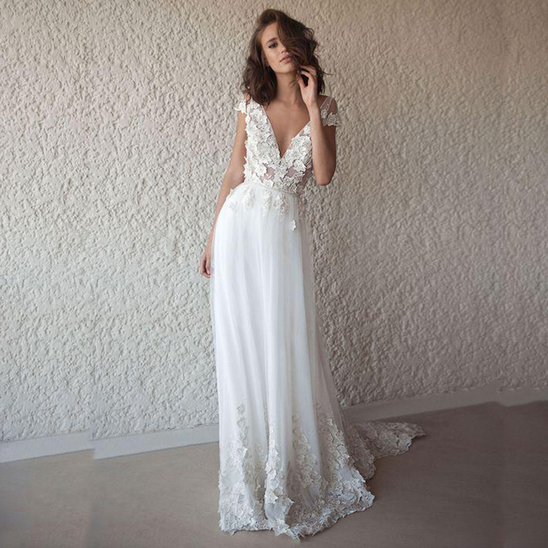 LORIE Sexy Wedding Dress Boho Long Backless White Beach Wedding Dress Appliques Lace V Neck Princess Bride Dress Free Shipping