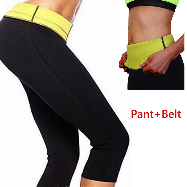 ffce13f0f2 Hot Body Shaper Neoprene Sauna Sweat Women pants+belt Slim Fitness Super  Stretch Panties waist