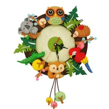 Cartoon Creativity DIY Children Non-Woven Felt Collage Toys Forest Animal Theme Handmade Cloth Art Retro Toys Room Decoration
